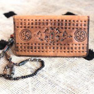 Vintage Hand Tooled Leather Bi-fold Wallet